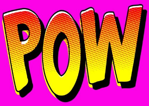 ART - POP ART - POW PINK WORD canvas print - self adhesive poster - photo print
